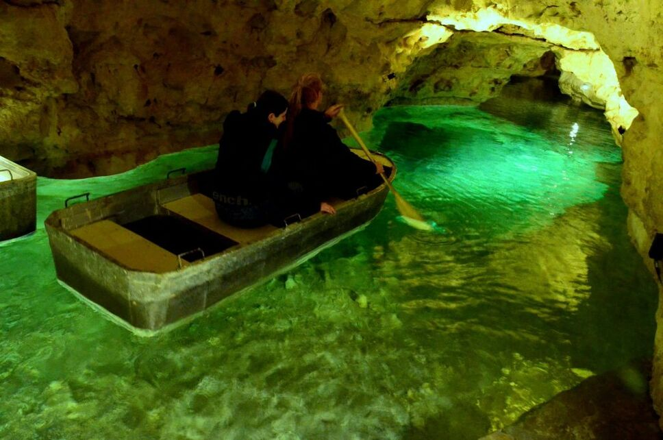 Tapolca Lake Cave where you can be guided along underground canals.