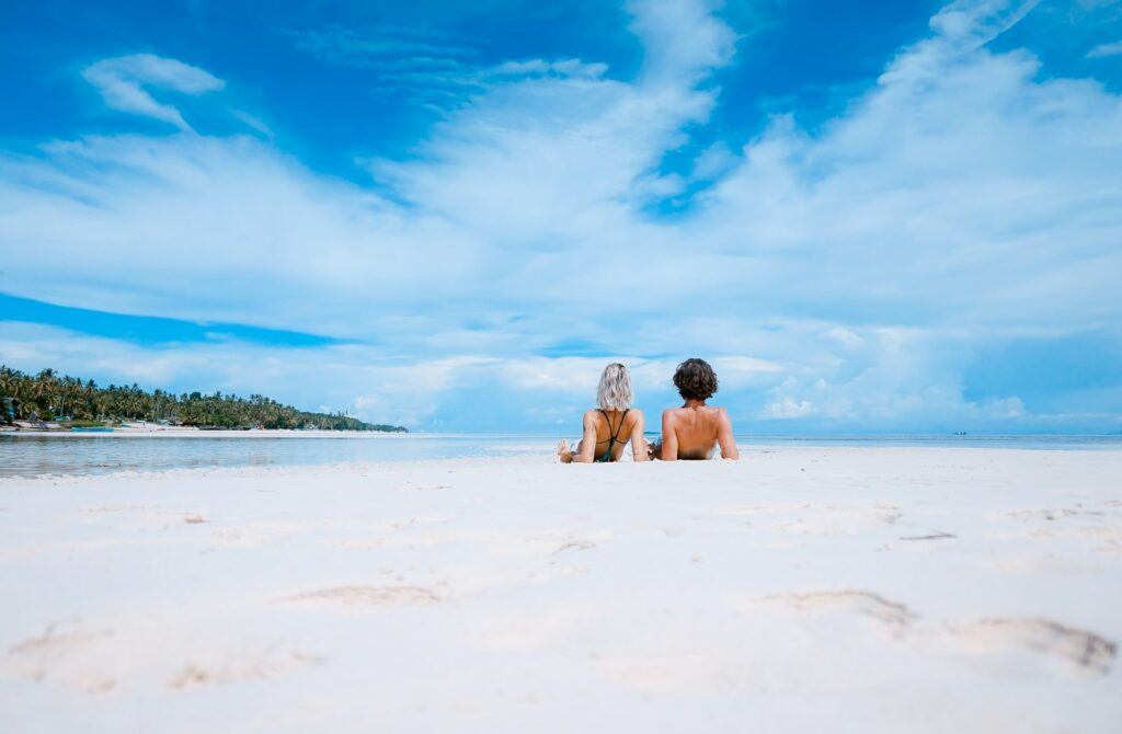 honeymoon couple on beach