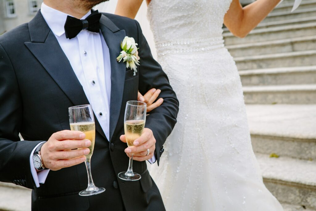 champagne wedding couple