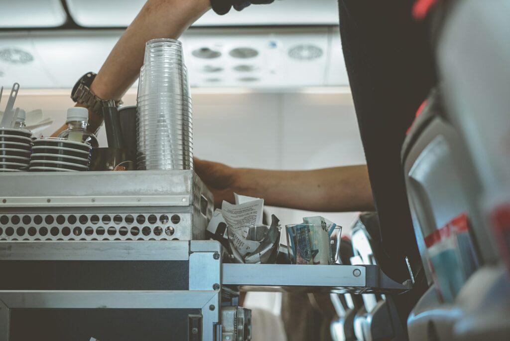 drinks cart on plane