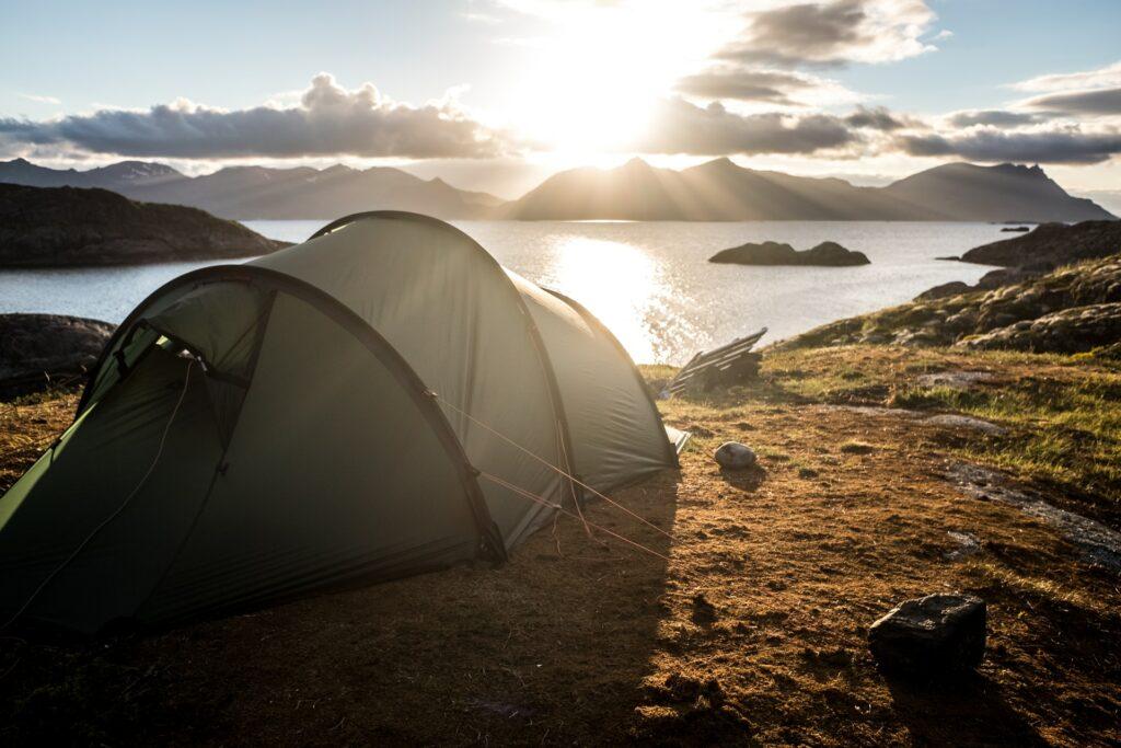 Alaska summer camping in the midnight sun