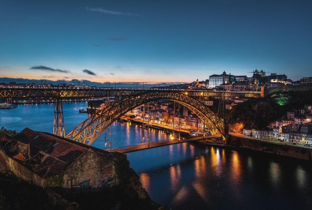 A view of Porto at night