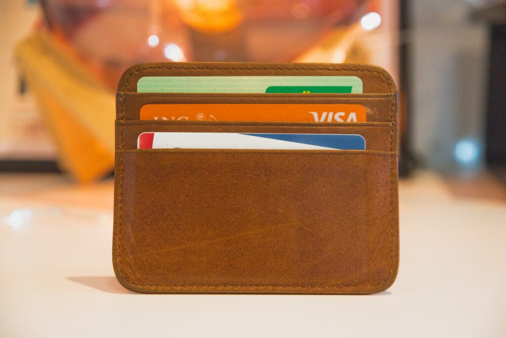 a small wallet full of credit cards